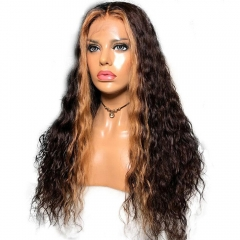 Full Lace Human Hair Wigs Honey Blonde With Brown Color Pre Plucked Lace Front Human Hair Wigs For Women Brazilian Virgin Hair Wigs