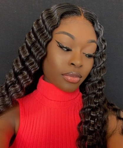 Pre-Made Fake Scalp Glueless Lace Frontal Wigs Human Hair With Pre Plucked Baby Hair Brazilian Deep Wave High Density
