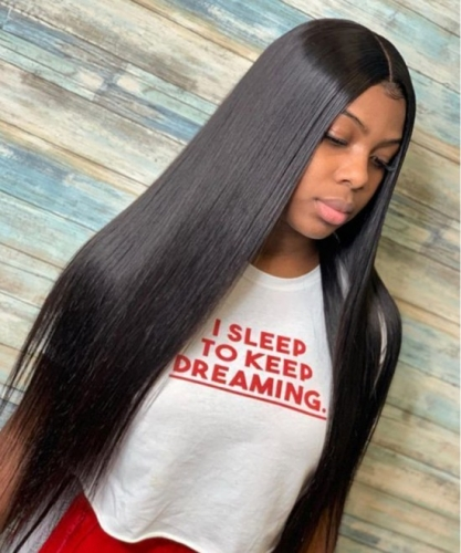 Pre-Made Fake Scalp Glueless 13x6 Lace Frontgal Wis Human Hair With Pre Plucked Baby Hair Brazilian Silky Straight High Density