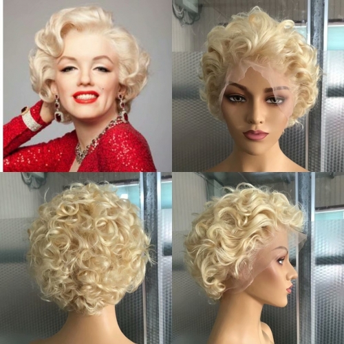 Eseewigs Brazilian pixie 613 Blonde 13x4 Lace Front Wigs Curly Jewish Remy Human Hair Full Lace Natural Hairline 150 Density 10""