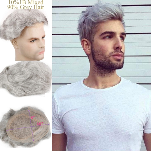 "90% Grey Mixed 10%1B Black Hair Replacement Mono Lace Free Style 8x10"" Toupee For Men"