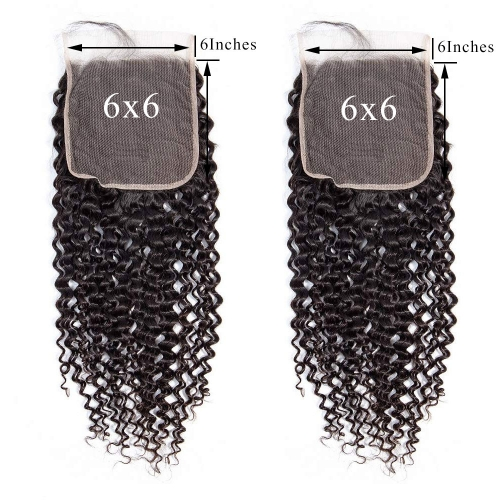Natural Color Kinky Curly 6x6 Lace Closure Free Part 100% Brazilian Hair-Made For Women