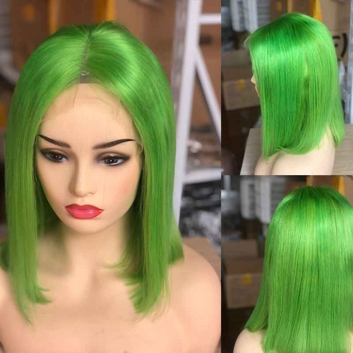 Lime Green Color Silky Straight Short Bob Lace Front Wig 100% Human Hair 130% Density Lace Front Pre-Plucked Hair Line For Black Women With Baby