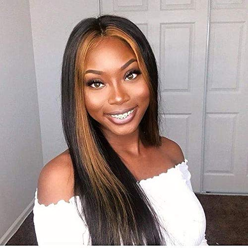 Lace Front Wigs Brazilian Virgin Human Hair Pre Plucked Hair Line for Black Women Highlight Straight with Baby Hair