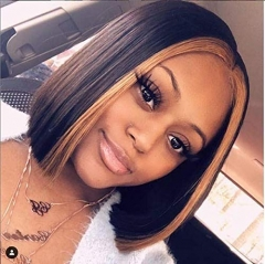 13x6 Lace Front Wigs Brazilian Virgin Human Hair Pre Plucked Hair Line for Black Women Highlight Straight with Baby Hair