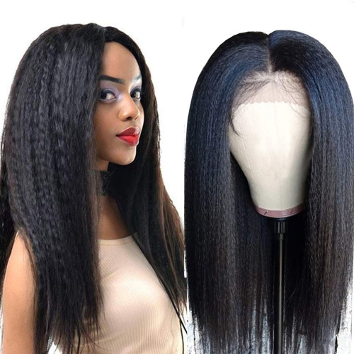 HD Transparent  Front Lace Yaki  With Undetectable Lace 100% Human Hair Pre Pluck Hairline With Baby Hair Wig For Black Women