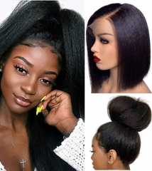 HD Transparent 13x6 Front Lace Yaki Straight With Undetectable Lace 100% Human Hair Pre Pluck Hairline With Baby Hair Wig For Black Women