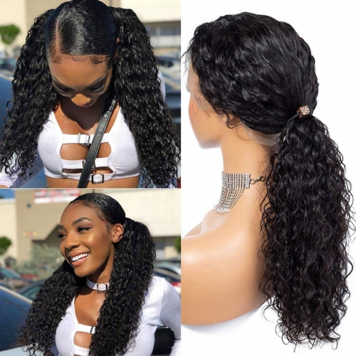 HD Transparent Front Lace Deep Wave With Undetectable Lace 100% Human Hair Pre Pluck Hairline With Baby Hair Wig For Black Women