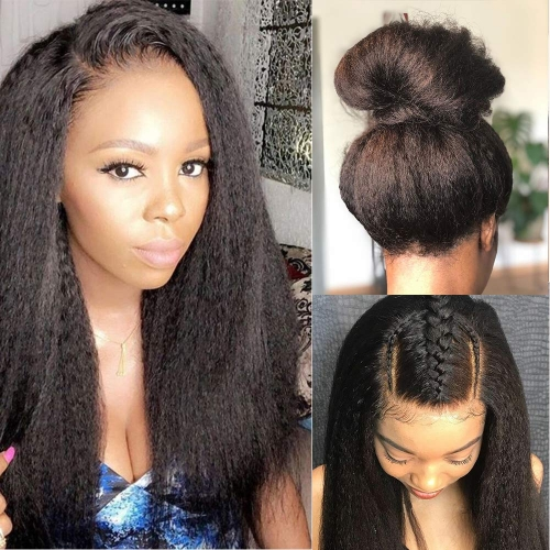 HD Transparent Front Lace Kinky Straight With Undetectable Lace 100% Human Hair Pre Pluck Hairline With Baby Hair Wig For Black Women