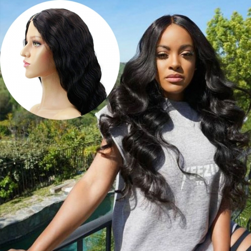 Body Wave Human Hair U Part Wigs 1x4 Lace on Top Brazilian Virgin Hair 130 180 Density UPart Wigs With 3 Combs and Clips