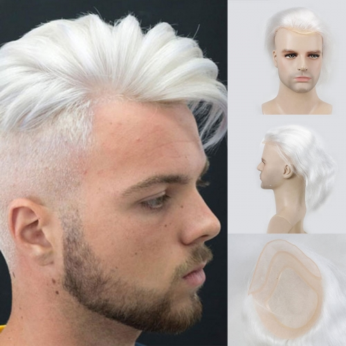 Fashion Mono Lace With Pu Around 100% Human Hair Pure White Color 8X10 Toupee For Men
