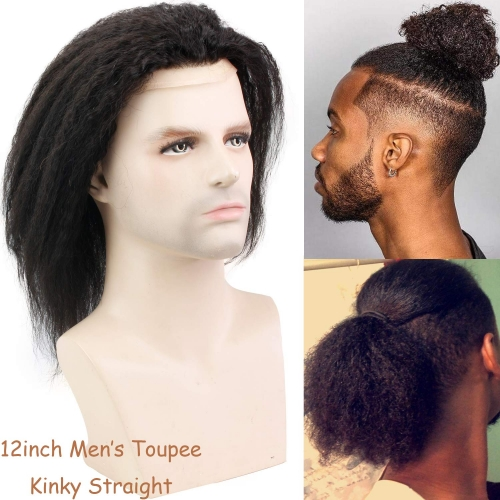 "12"" Long Kinky Straight Human Hair Replacement for Men Stock Toupee Mono Lace and PU Around with Swiss Lace Front 10""x8"" Base Size Natural Black Bolor"