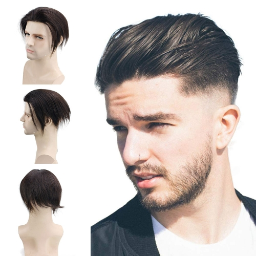 Human Hair Toupee Men's Unit Short Wigs for Men 6x7.5 Inches Lace Front Wig Lace With PU Around Hair Replacement for Men Color Off Black #1B