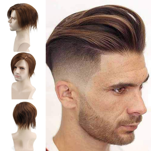 Human Hair Toupee Men's Unit Short Wigs for Men 6x7.5 Inches Lace Front Wig Lace With PU Around Hair Replacement for Men Color Off Light Brown
