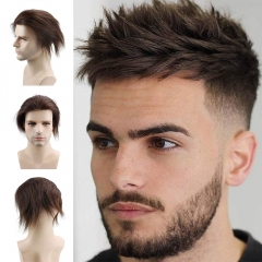 Human Hair Toupee Men's Unit Short Wigs for Men 6x7.5 Inches Lace Front Wig Lace With PU Around Hair Replacement for Men Color Off Dark Brown