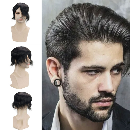 1B Black PU With Mono Swiss Lace Comfortable Hair Replacement System Men's Toupee 100% Human Hair Piece