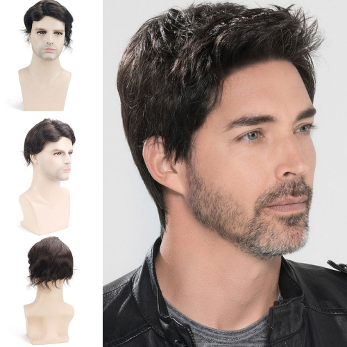 PU With Mono Swiss Lace Comfortable 8x10 Hair Replacement System Men's Toupee 100% Human Hair Piece