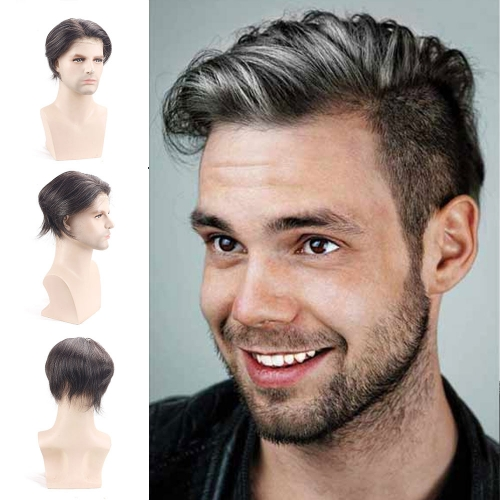 1B Mixed 20% Grey Hair PU Frontal With Swiss Lace Comfortable 8x10 Hair Replacement System Men's Toupee 100% Human Hair Piece