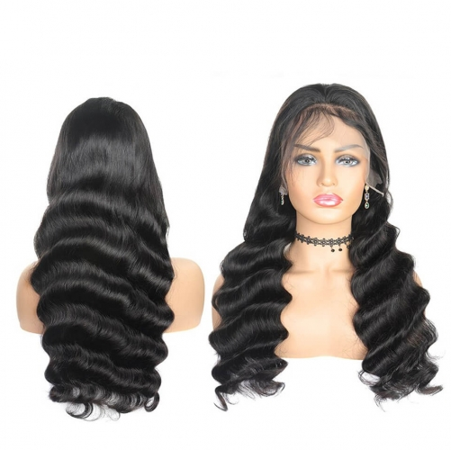 HD Transparent Front Lace Wig Loose Wave With Baby Hair Undetectable Lace 100% Human Hair  Pre Pluck Wig For Black Women