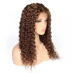 Human Hair Wigs For Women Kinky Curly Wig Dark Brown Hair Pre Plucked 4# Color