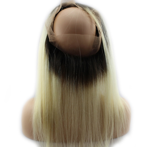 360 Lace Frontal Blonde #1b 613 Straight Brazilian Virgin Remy Human Hair Lace Band Frontal Closure Natural Hairline Bleached Knots with Baby Hair