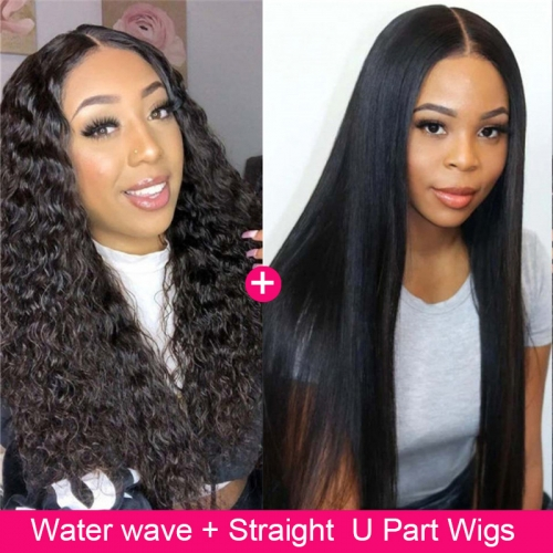 Pay 1 Get 2! Eseewigs Water Wave U Part Wigs And Straight U Part Wigs Pay One Wig Get Two Wigs Ship In 1 Package