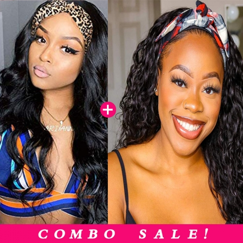 Pay 1 Get 2! Human Hair Headband Wigs Body Wave & Water Wave Wig With Various Kinds Of Hairstyles 150% 180% Density In Stock