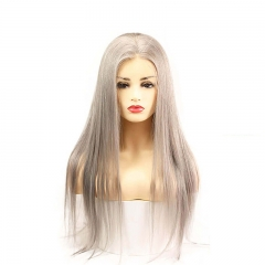 Grey 13x6 Lace Frontal Wigs Human Hair Silky Straight Glueless13x4x1 T Part Lace wigs Silver Grey Brazilian Remy Hair 26 inch
