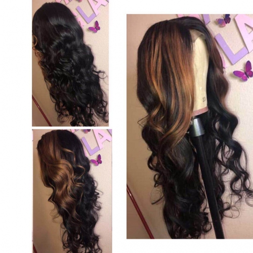 Human Virgin Hair Ombre wave Pre Plucked Lace Front Wig For Black Woman