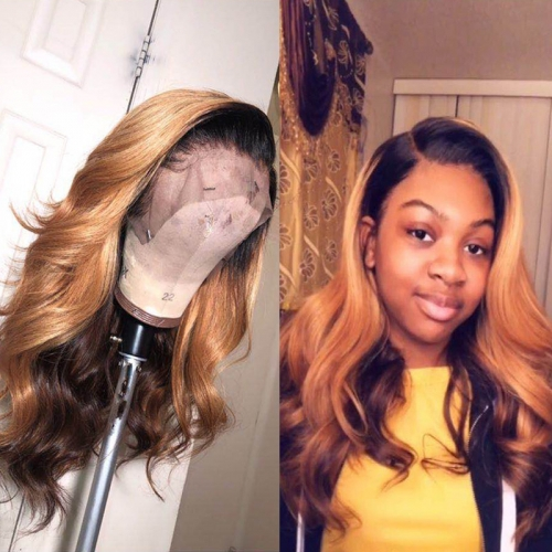 Human Virgin Hair Ombre Honey Blonde Pre Plucked Lace Front Wig For Black Woman