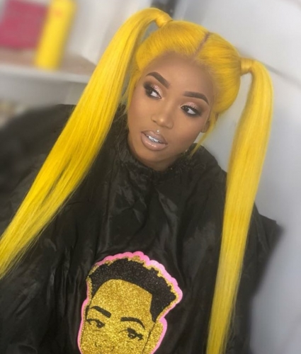 Human Virgin Hair Yellow Pre Plucked Lace Front Wig