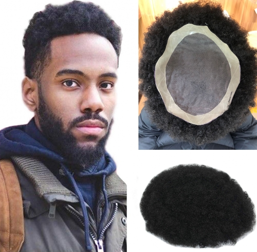 "Afro Toupee For Men Afro Kinky Curl Toupee Hair Pieces Human hair Replacement System For Men 9"" x 7"" Human Hair Mens Toupee Hair"