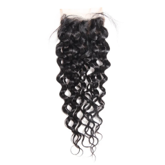 Brazilian Hair Water Wave Free Part Lace Closure 4x4 inchs Natural Color