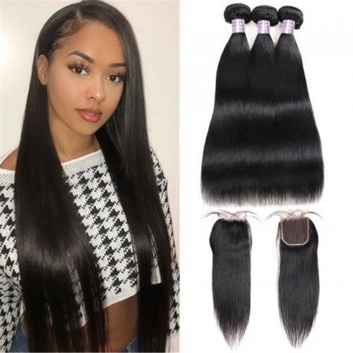 Allove Brazilian Straight Virgin Hair 3 Bundles with 4*4 Lace Closure