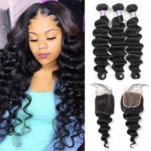 Eseewigs Brazilian Loose Deep Wave Hair 3 Bundles With 4*4 Lace Closure