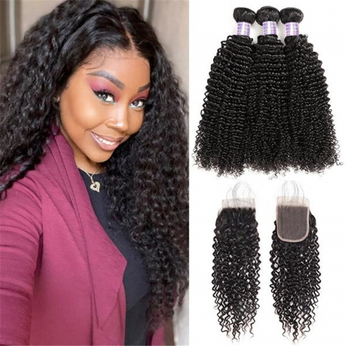 Malaysian Kinky Curly 3 Bundles with Lace Closure Virgin Human Hair
