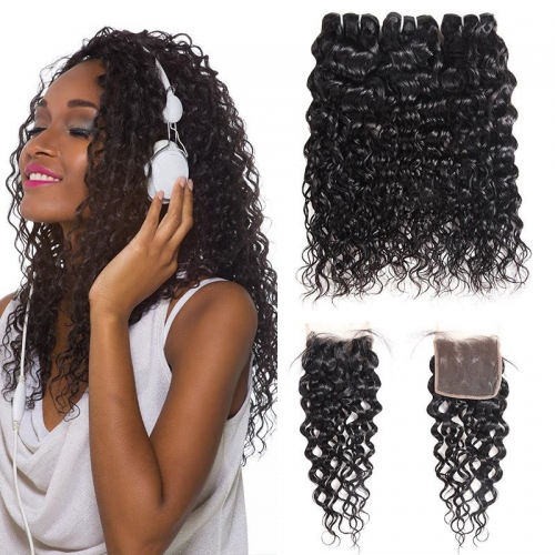 Eseewigs Peruvian Water Wave Hair 3 Bundles with 4*4 Lace Closure