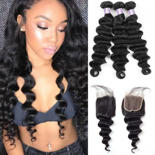 Eseewigs Malaysian Loose Deep Wave 3 Bundles with 4*4 Lace Closure Virgin Hair