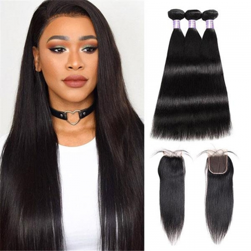 Eseewigs Indian Straight Hair 3 Bundles with 4*4 Lace Closure
