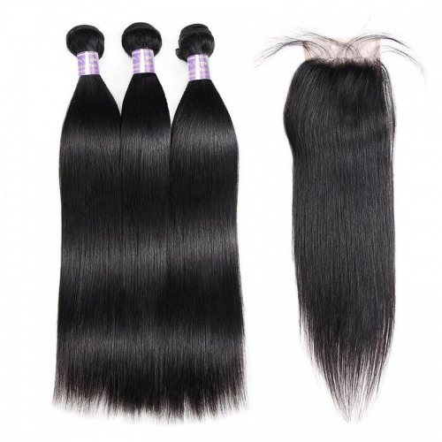 Eseewigs Peruvian Straight Hair 3 Bundles With 4*4 Lace Closure