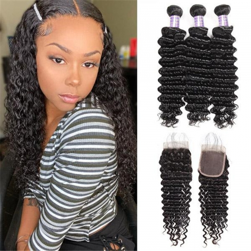 Eseewigs Brazilian Deep Wave 3 Bundles with 4*4 Lace Closure Virgin Hair