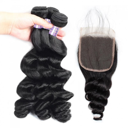 Eseewigs Peruvian Loose Wave Virgin Hair 3 Bundles with 4*4 Lace Closure