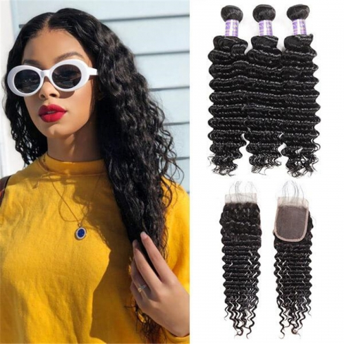 Peruvian Deep Wave 3 Bundles with 4*4 Lace Closure Virgin Human Hair