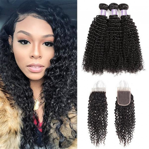 Peruvian Curly Wave 3 Bundles with 4*4 Lace Closure Virgin Hair