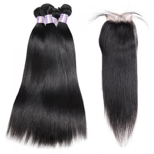 Malaysian Straight Hair 4 Bundles With 4*4 Lace Closure Virgin Human Hair