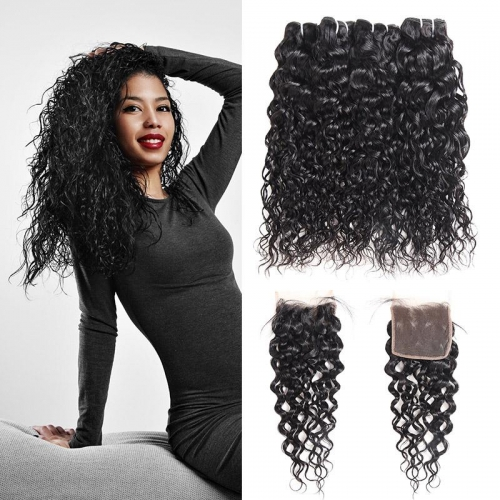Brazilian Water Wave 4 Bundles with 4*4 Lace Closure Virgin Hair