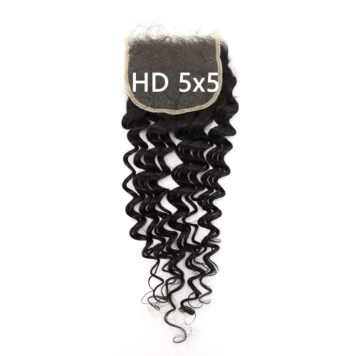 5X5 Transparent Invisible Hd Lace Thinner Lace Closure Malaysian Deep Wave Human Hair With Baby Hair Bleached Knots 10A Lace Top Closure