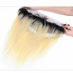 Blonde Hair with Dark Roots 1b/613 Color Brazilian Straight Human Hair Closure 13*4 Lace Frontal with Baby Hair 100% Human Hair