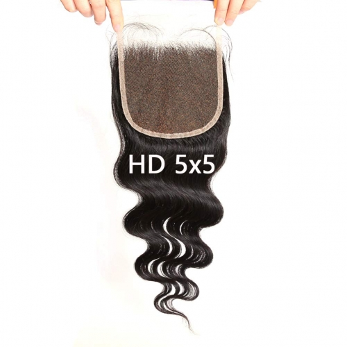5X5 Transparent Invisible Hd Lace Thinner Lace Closure Malaysian Body Wave Human Hair With Baby Hair Bleached Knots 10A Lace Top Closure