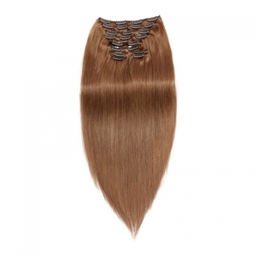 Burgundy Red Silky Straight 10 pcs Clip in Hair Brown 120g Human Hair